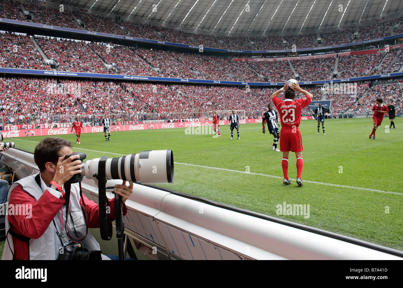 Photographer at an FC Bayern Muenchen soccer match in the Allianz-Arena, 27.08.2005, Munich, Bavaria, Germany Stock Photo