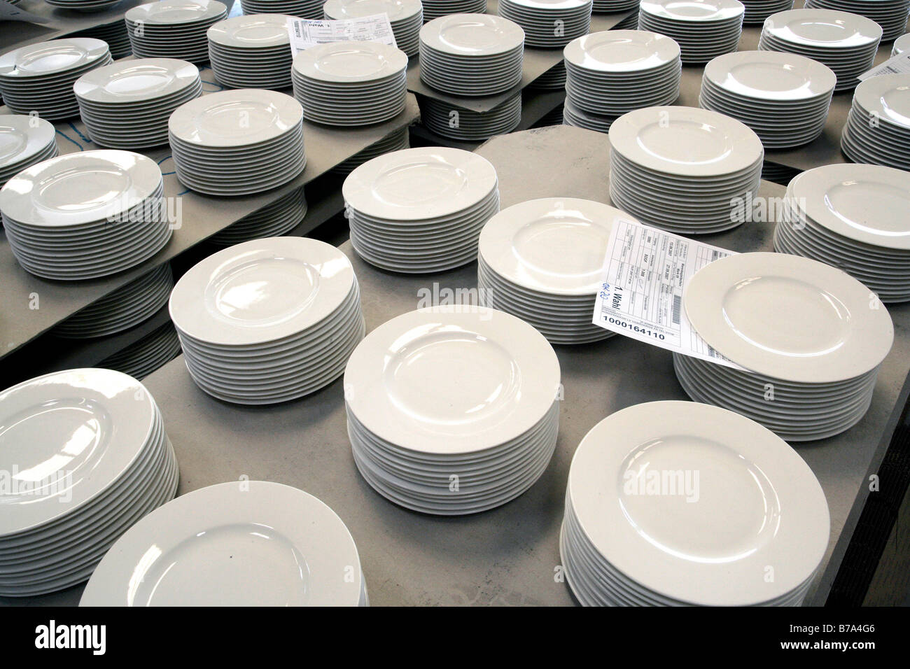 Plates in the warehouse of the crockery production Villeroy u0026 Boch AG Faiencerie Merzig Saarland Germany Europe & Plates in the warehouse of the crockery production Villeroy u0026 Boch ...