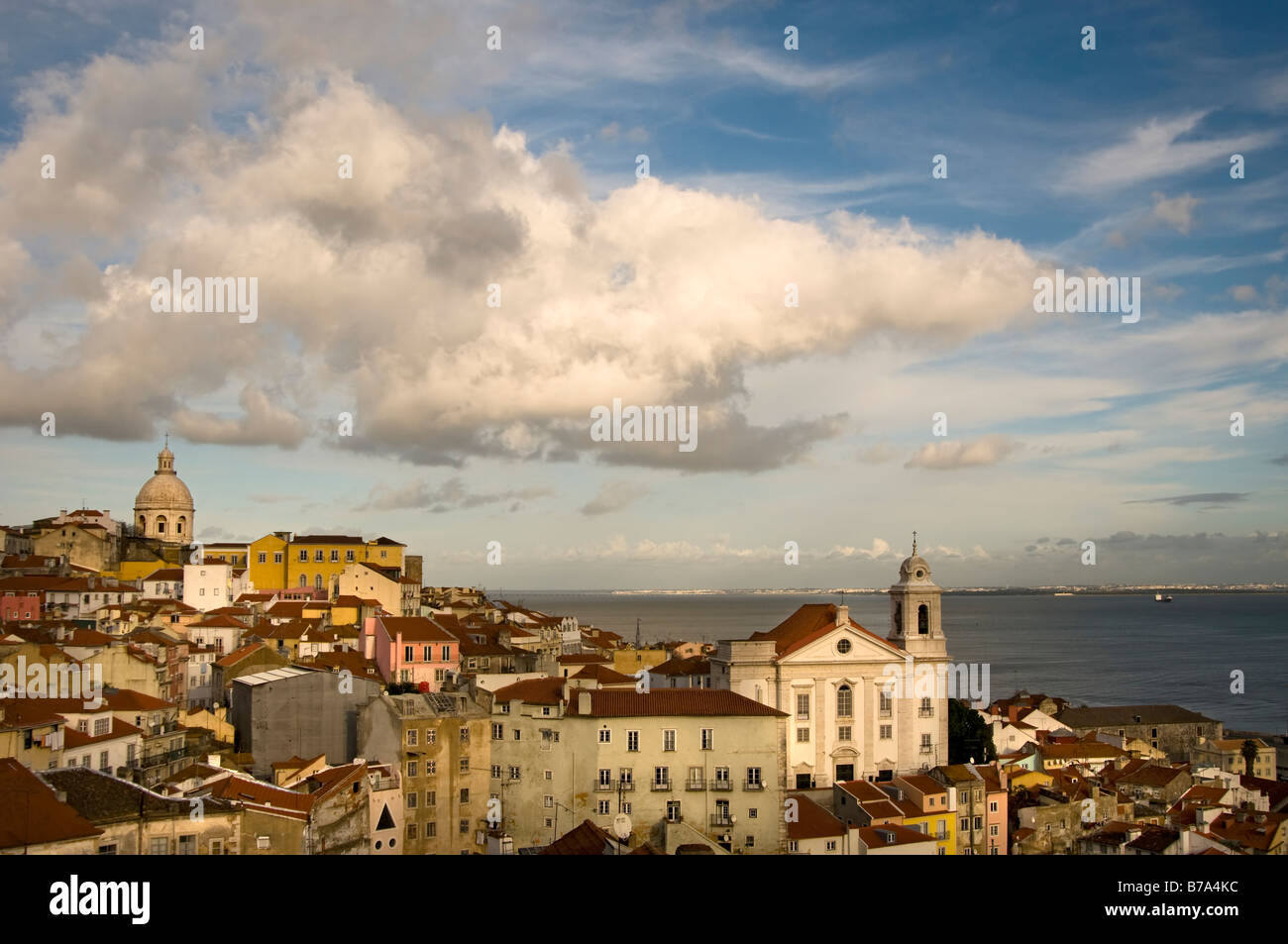 Lisbon and the Church of San Miguel from the viewpoint of St. Lucia in the Alfama - Stock Image