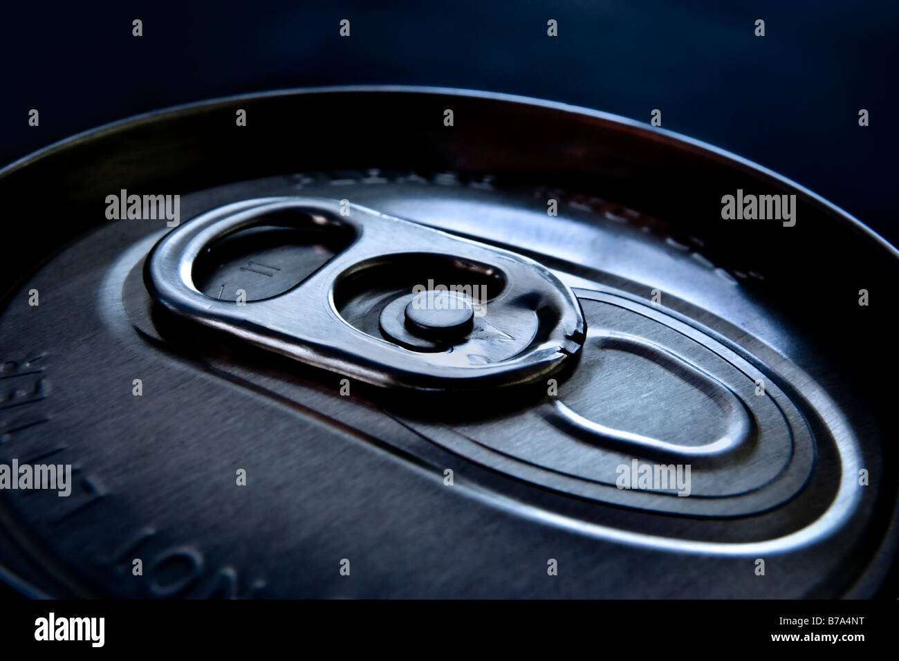 Ring pull on top of a drink can - Stock Image