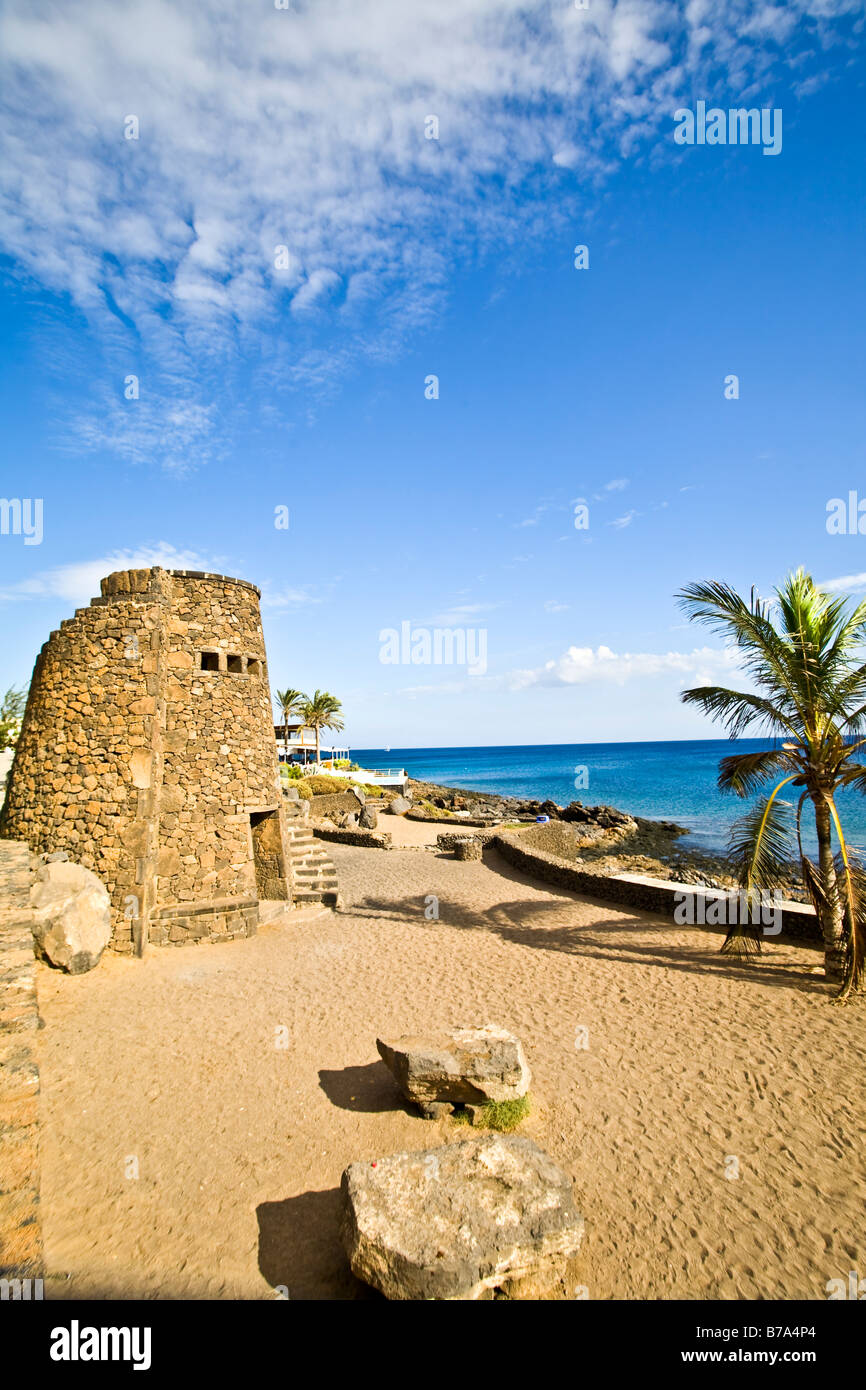 playa bastian Costa Teguise Lanzarote Canary Islands Spain Europe beach playa Travel tourism - Stock Image