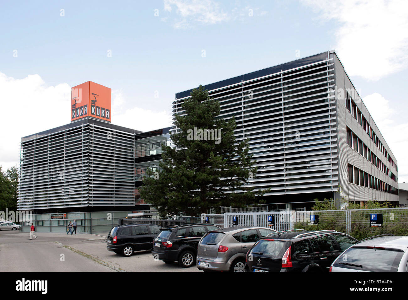 Exterior shot of the headquarters of the KUKA Roboter GmbH, responsible for the robotics department of the IWKA Stock Photo