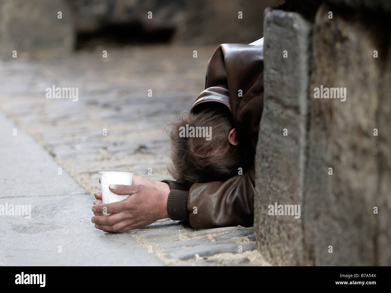Beggar, Prague, Czech Republic, Europe - Stock Image
