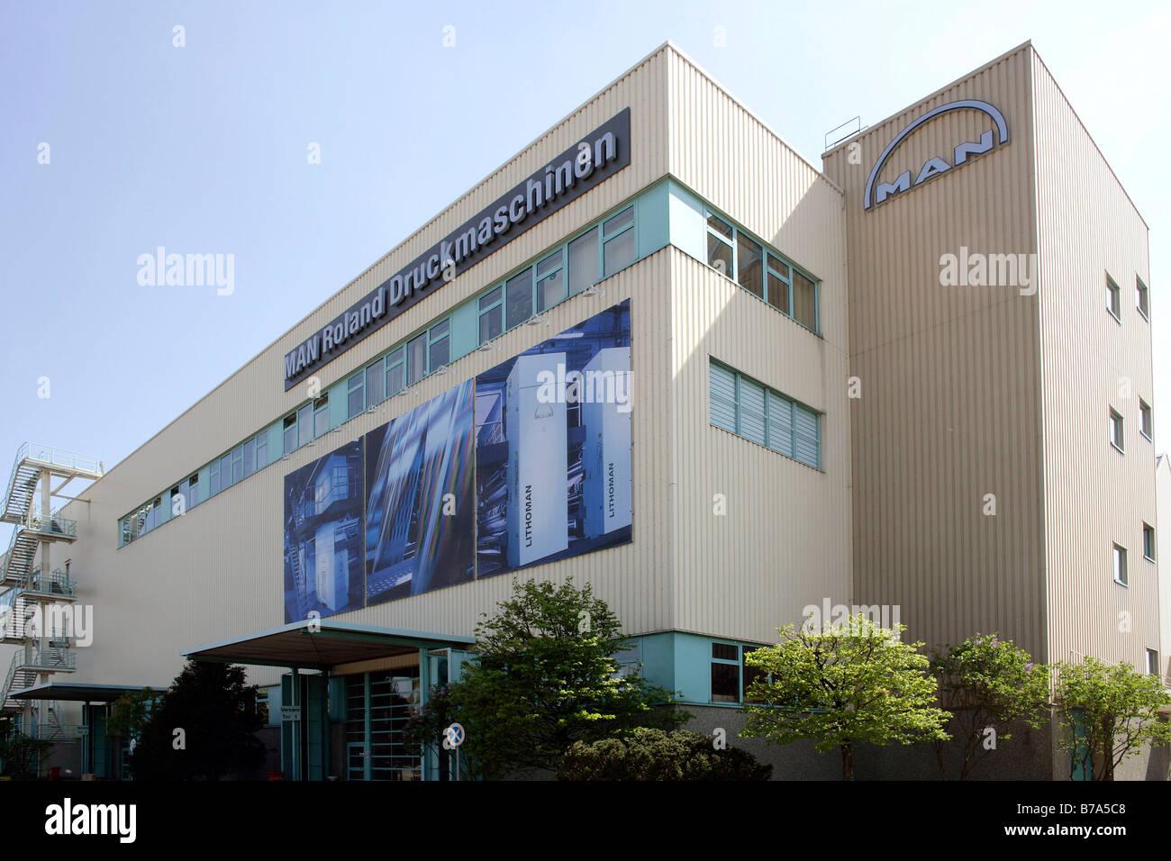 Production hall, manufacture, Production MAN Roland Printing Machine Corporation, Augsburg, Bavaria, Germany, Europe - Stock Image