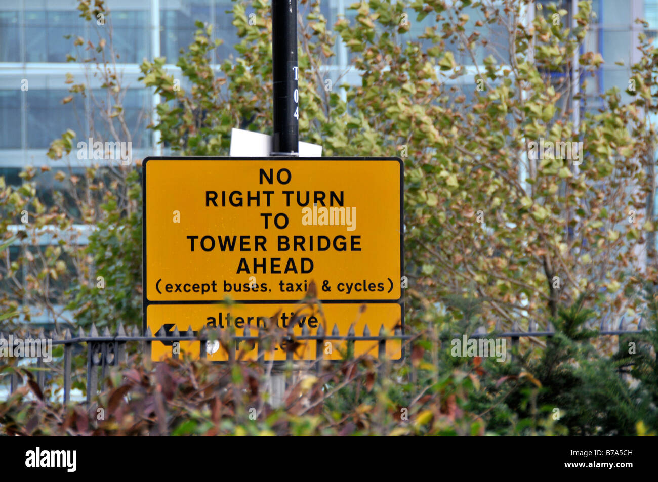 No right turn sign to  tower bridge - Stock Image