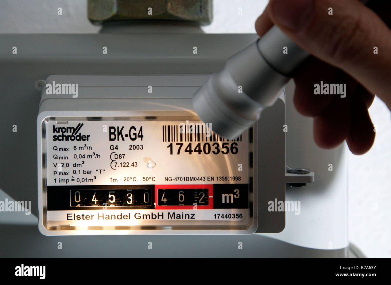 Gas meter reading with a torch, Germany, Europe - Stock Image