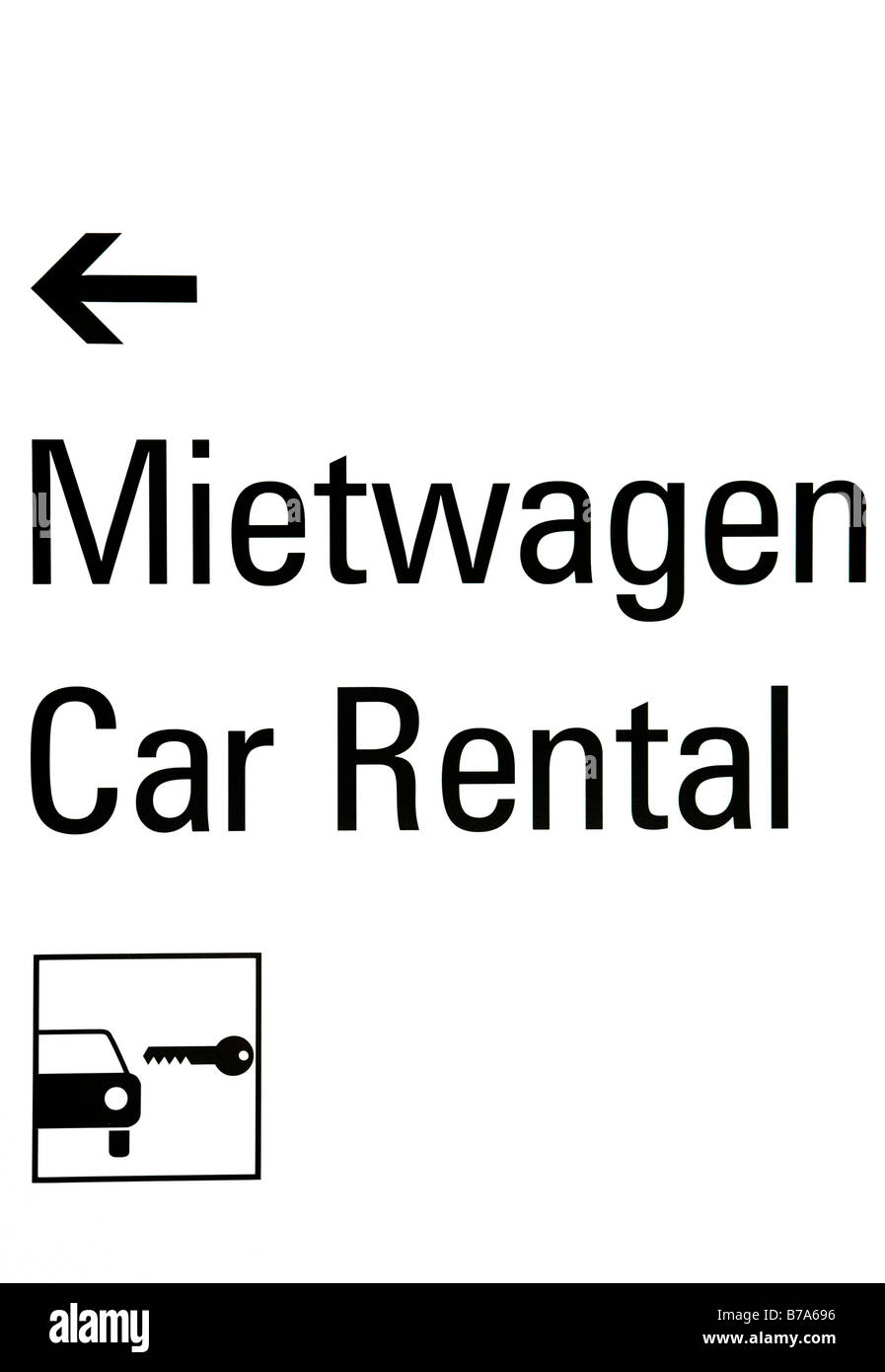 Information Sign for car rental companies at Munich Airport, Bavaria, Germany, Europe - Stock Image
