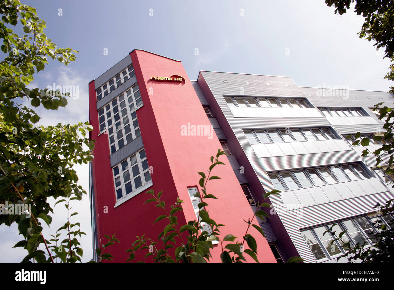 Premiere World Company Headquarters in Medienallee Street in Unterfoehring near Munich, Bavaria, Germany, Europe - Stock Image