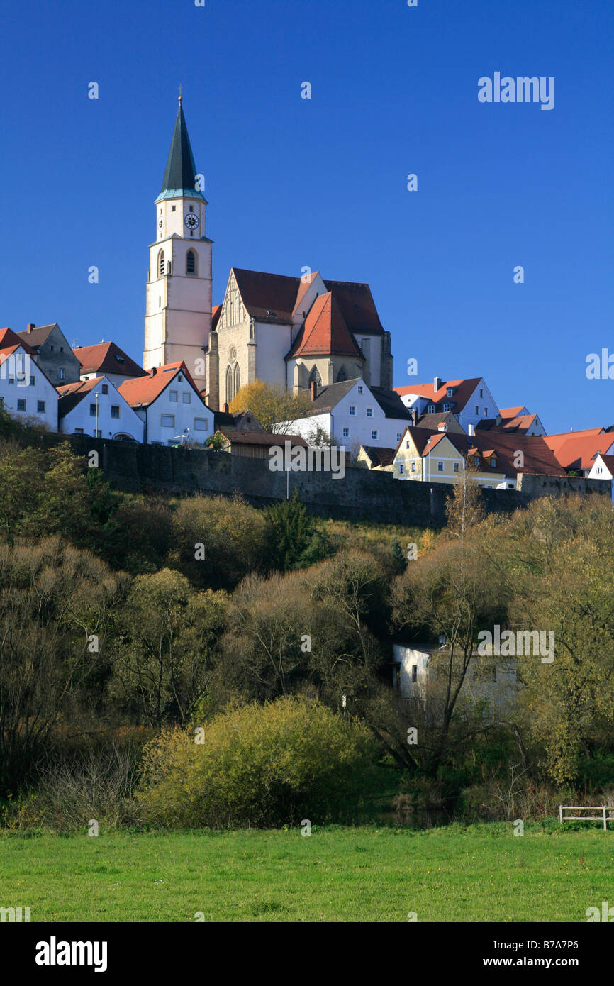 View of the core city of Nabburg in the Upper Palatinate, Bavaria, Germany, Europe - Stock Image