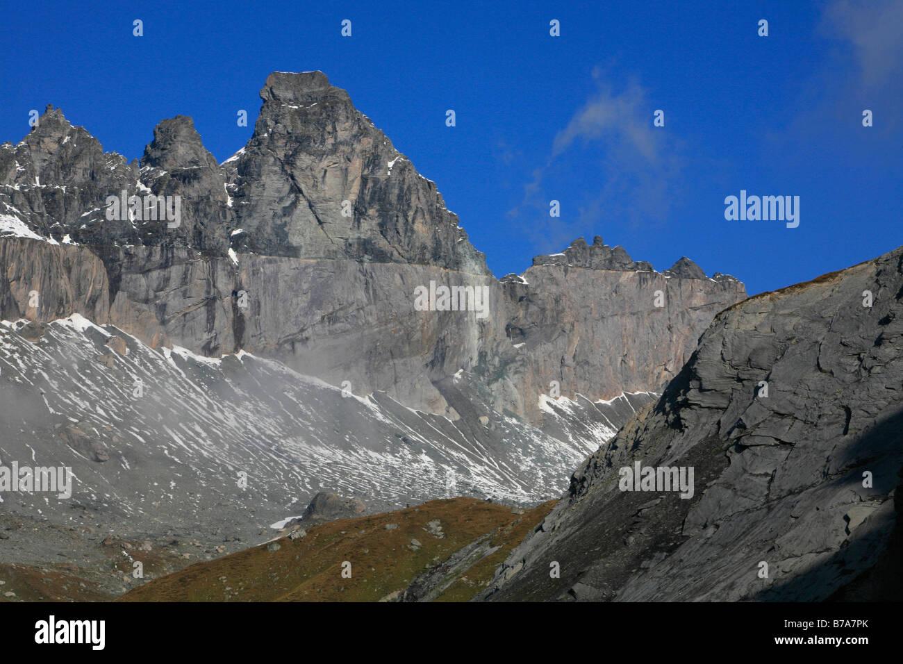 Glarus thrust, UNESCO World Natural Heritage Site, Swiss Tectonic Arena Sardona, Flims, Graubuenden, Switzerland, - Stock Image