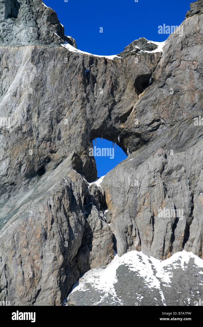 Glarus thrust and Martinsloch, UNESCO World Natural Heritage Site, Swiss Tectonic Arena Sardona, Flims, Graubuenden, - Stock Image