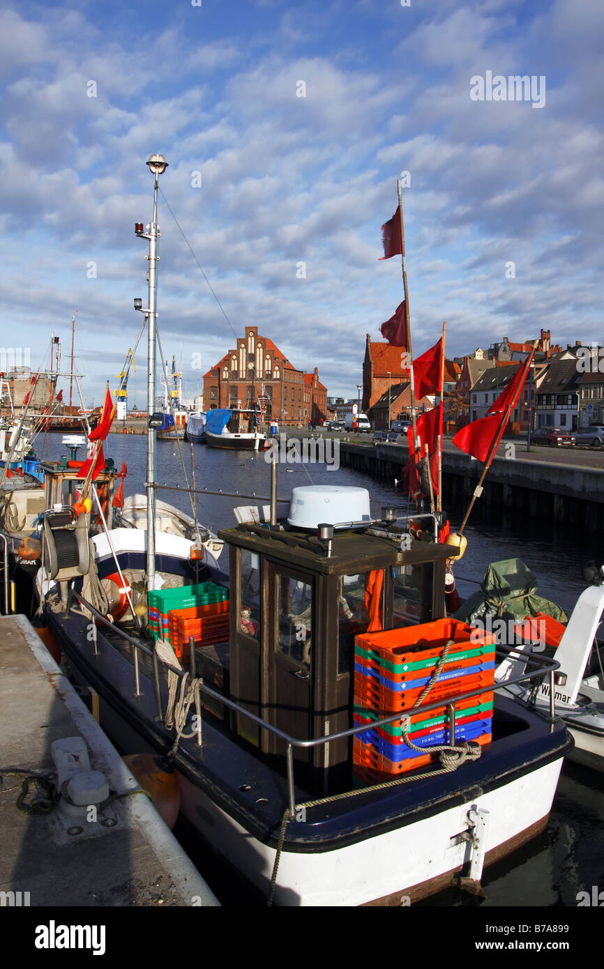Fishing boats in the old harbour of Wismar on the Baltic Sea coast, UNESCO World Heritage Site, Hanseatic League - Stock Image