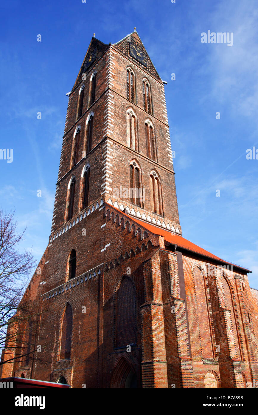 Remaining west tower and side chapels of the historic Church of St. Mary in the historic city centre of Wismar, - Stock Image