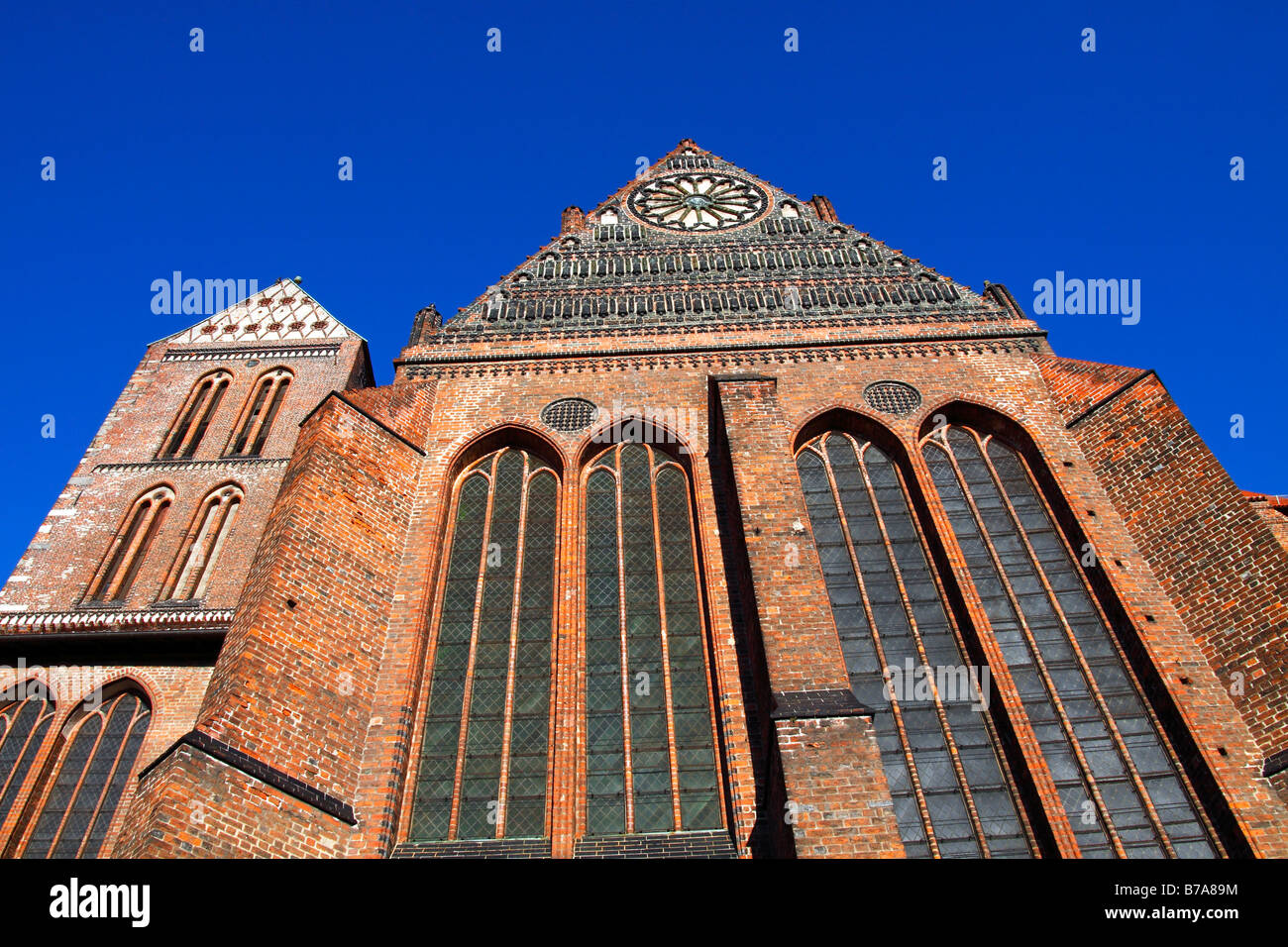 Church of St Nicholas in the historic city centre of Wismar, UNESCO World Heritage Site, Hanseatic League city of - Stock Image