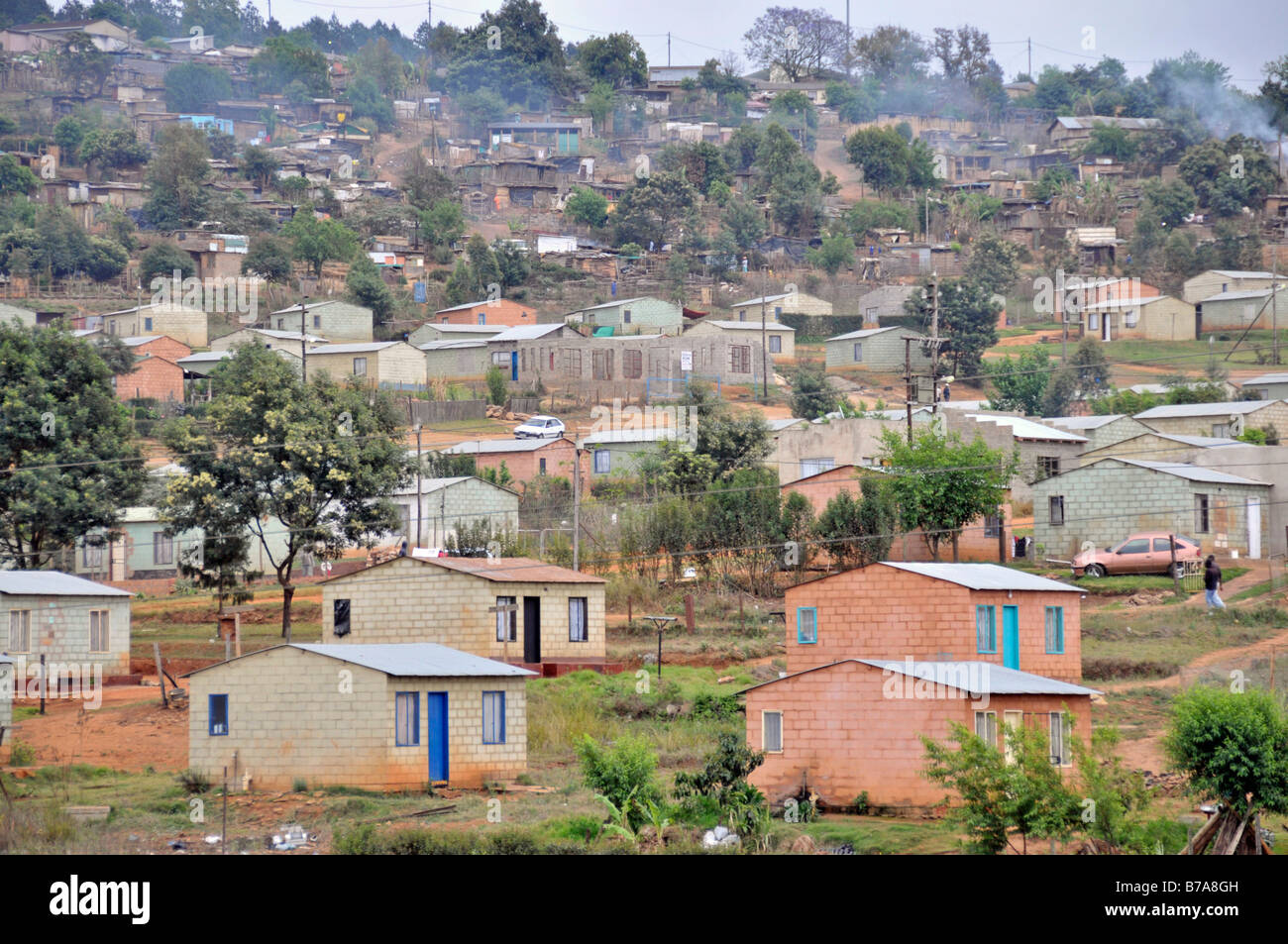 Colony of rough huts, township of the black citizens of Sabie, South Africa, Africa Stock Photo