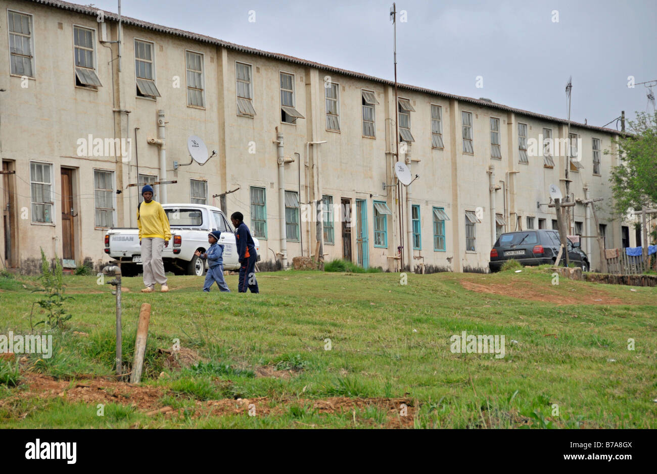 Apartment block of the black citizens of Sabie, South Africa, Africa ...