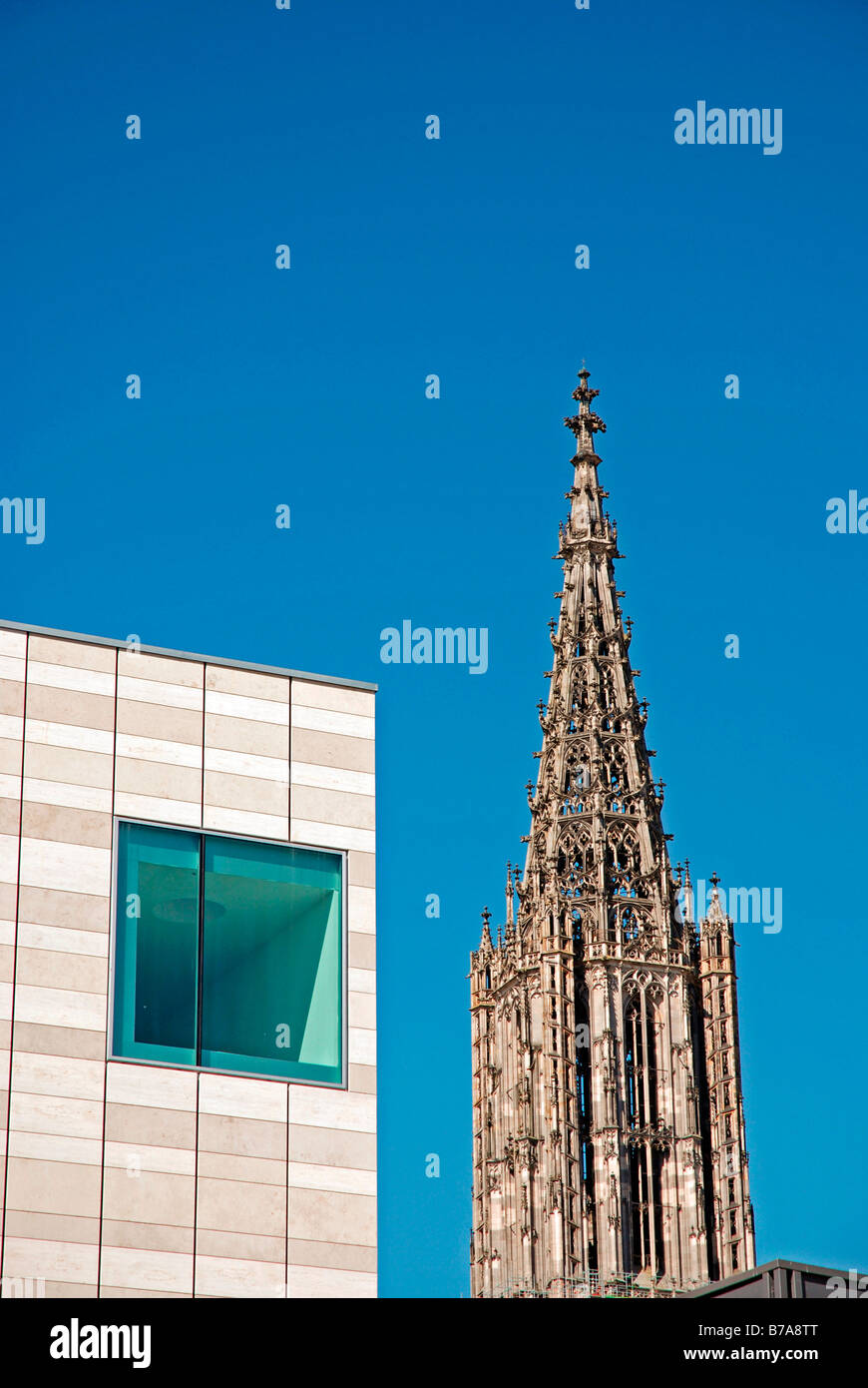 Assemblage Weishaupt and Ulmer Muenster, Ulm, Baden-Wuerttemberg, Germany, Europe Stock Photo
