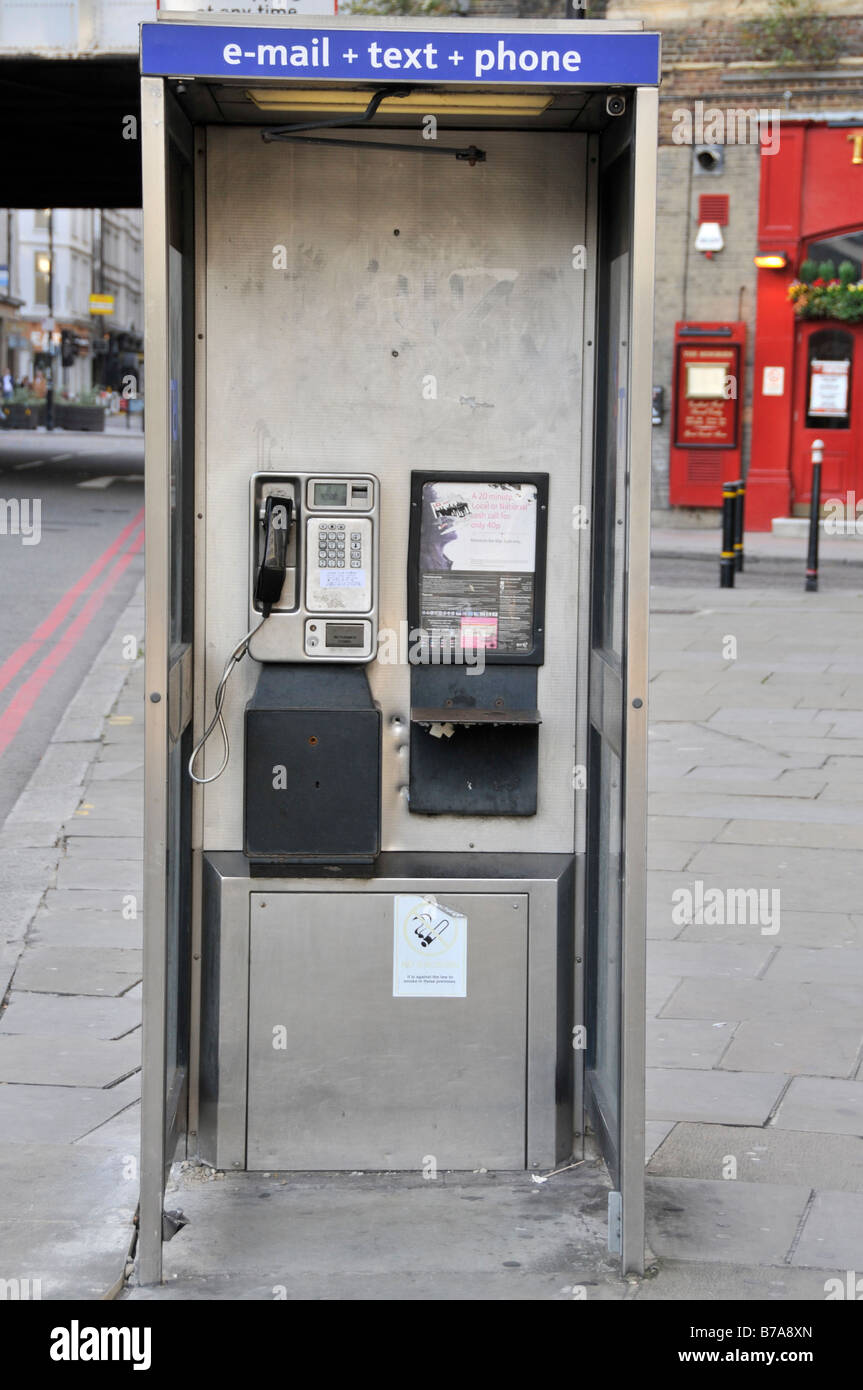 London phone boxes offering email, phone and text service - Stock Image