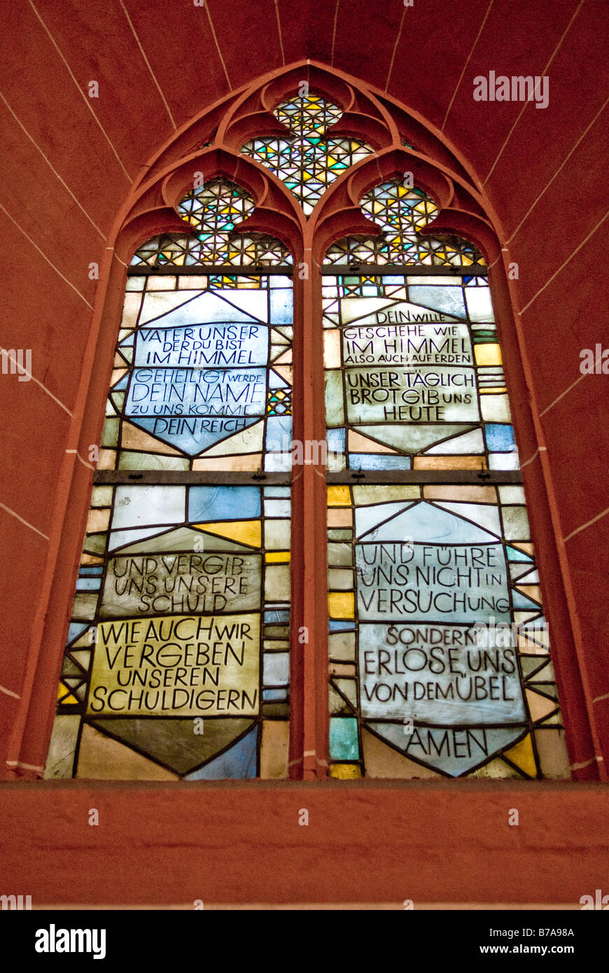 Vater Unser, Our Father church window in Frankfurt, Germany, Europe Stock Photo