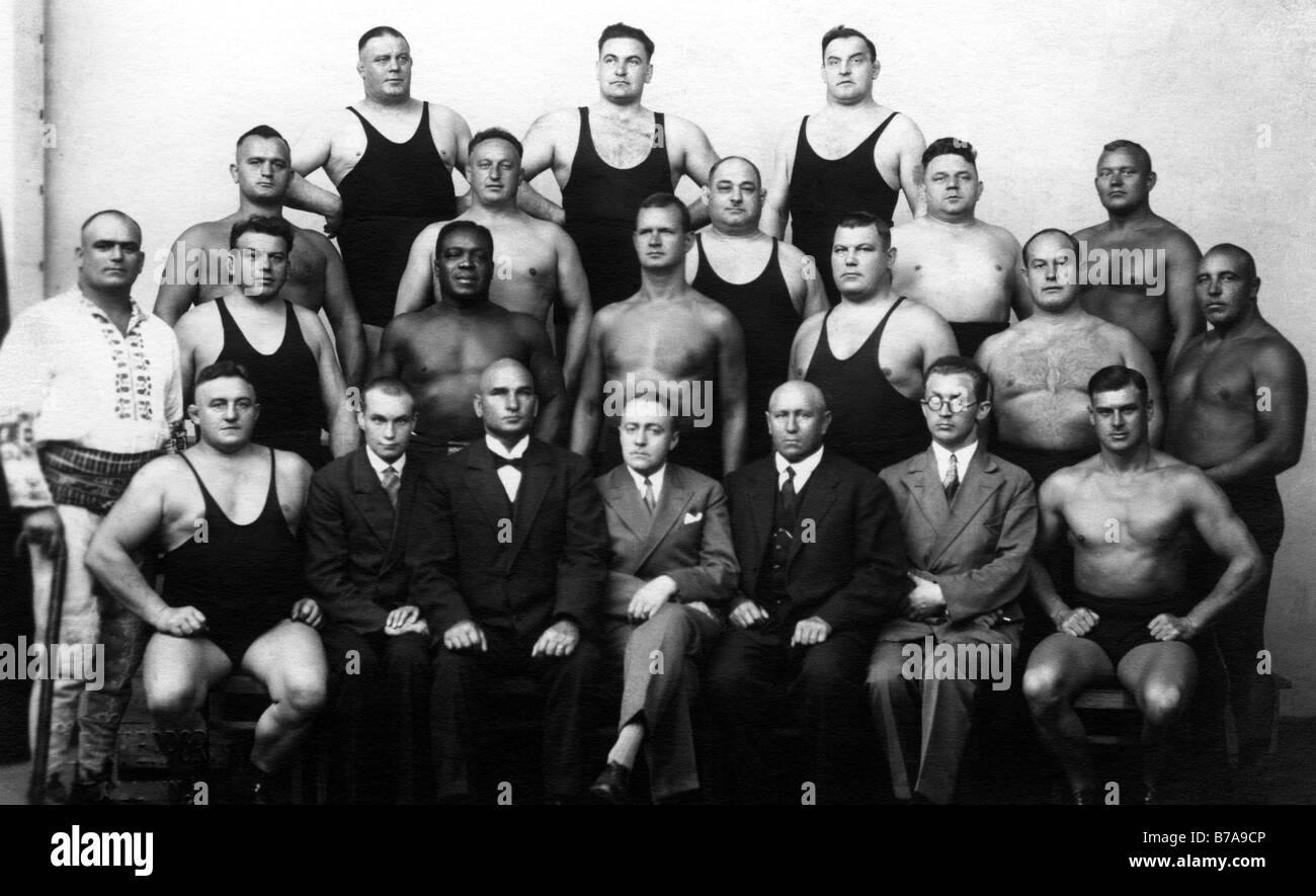 Historic photo, wrestling league, ca. 1915 - Stock Image