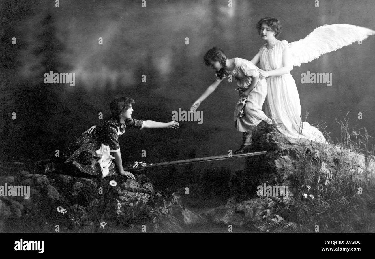 Historic photo, guardian angel, ca. 1915 - Stock Image