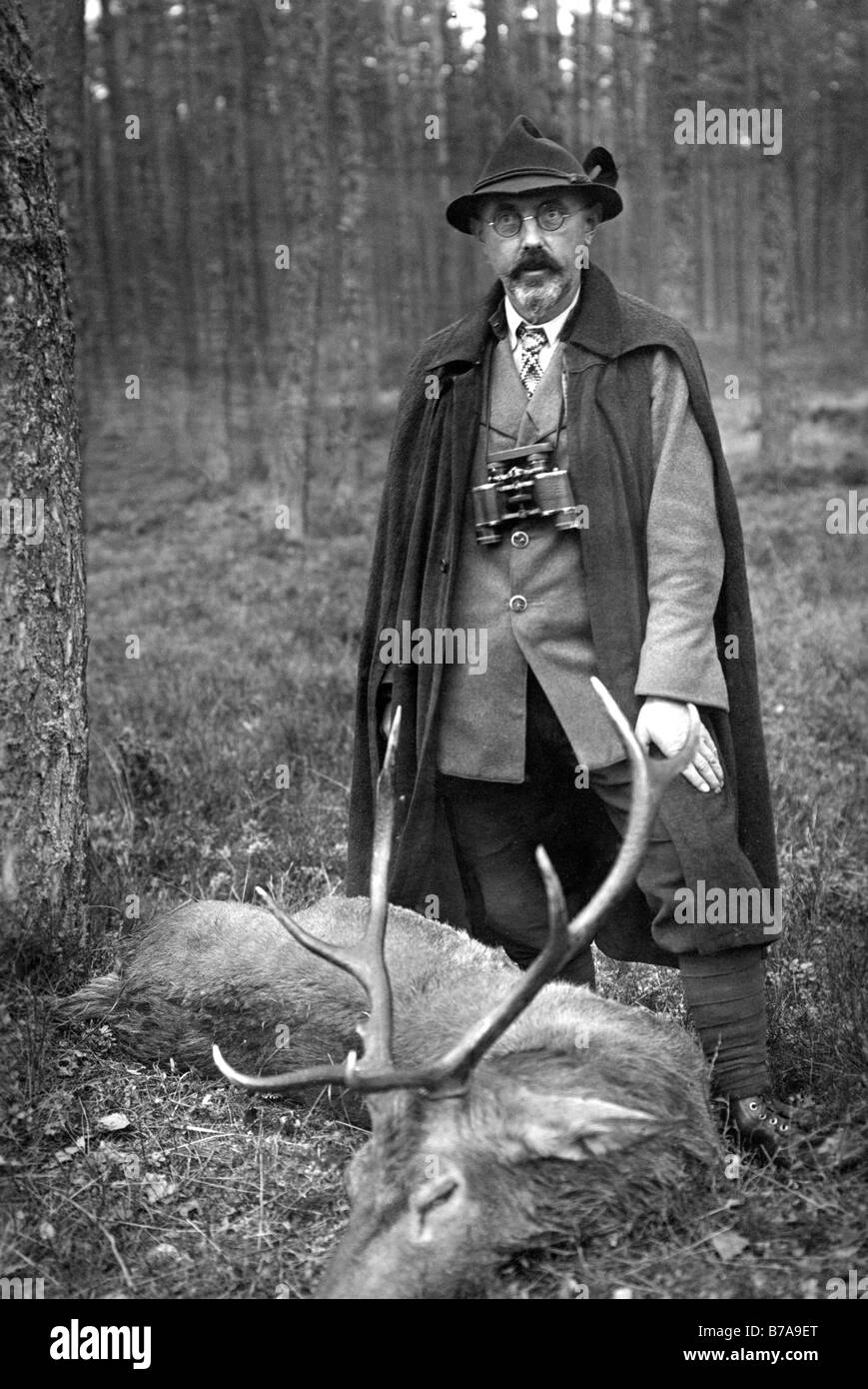 Historic photo, hunter with killed deer, ca. 1920 Stock Photo