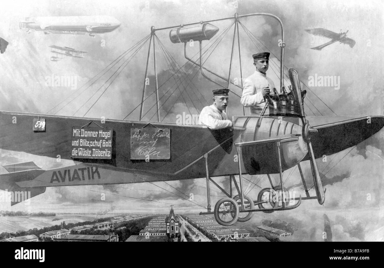 Historic photo, First World War, two soldiers in fake airplane - Stock Image