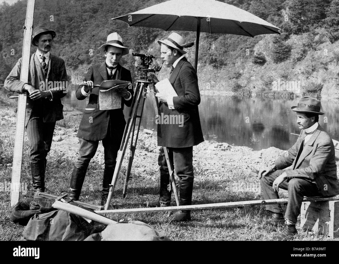 Historic photo, surveyor, ca. 1925 - Stock Image