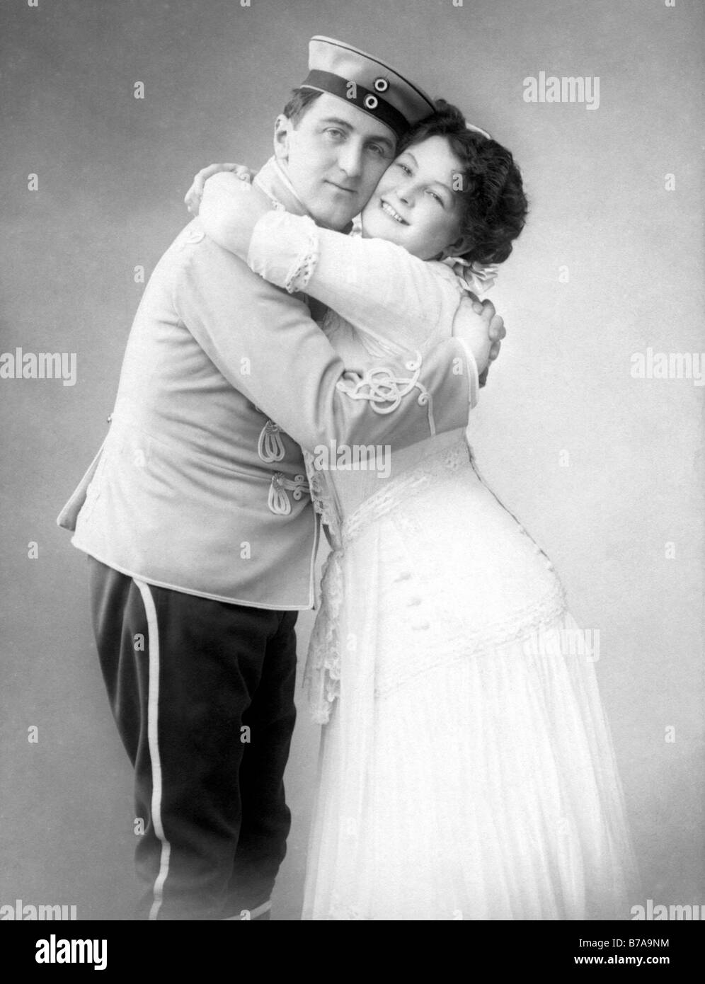 Historic photograph, lovers embracing, ca. 1915 Stock Photo
