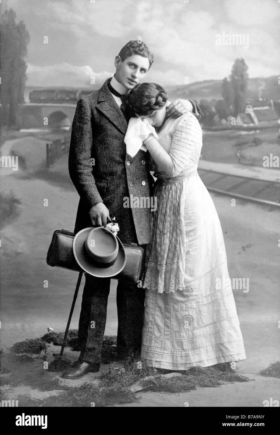 Historic photograph, lovers, woman crying, ca. 1915 - Stock Image