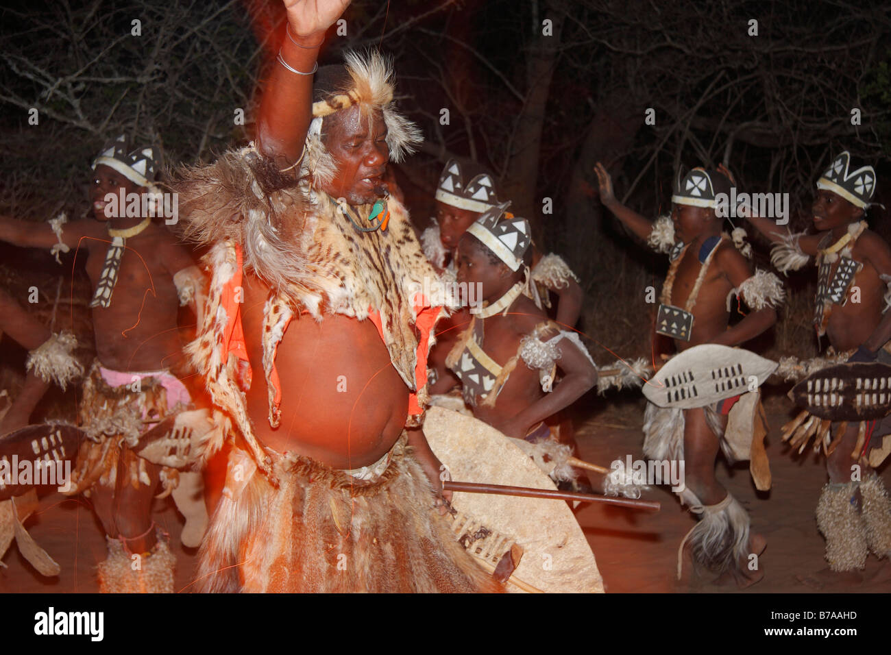 Tonga dancers during an outdoors evening dance performance - Stock Image