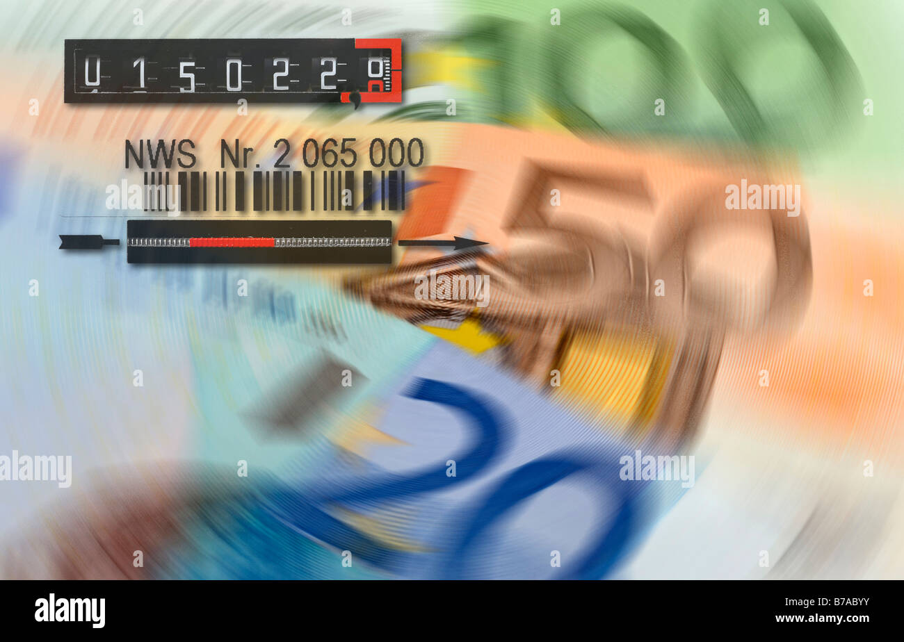 Euro banknotes, electricity meter, symbolic of energy costs - Stock Image