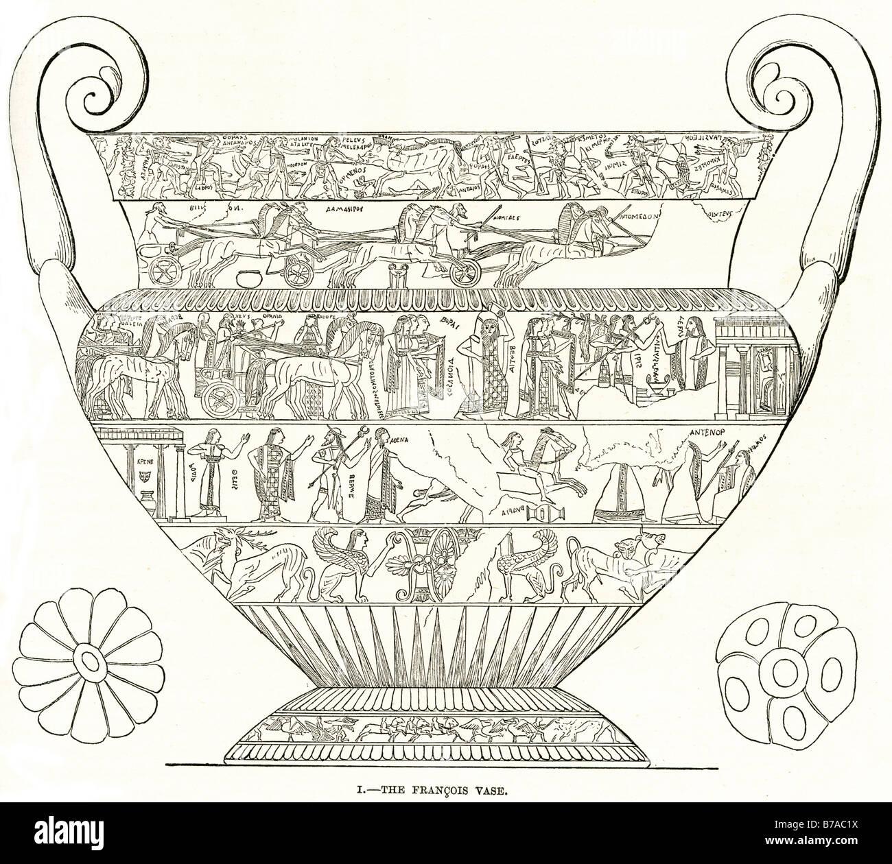 francois vase volute krater Etruscan tomb 1844 hieroglyph Greek pottery Fonte Rotella - Stock Image