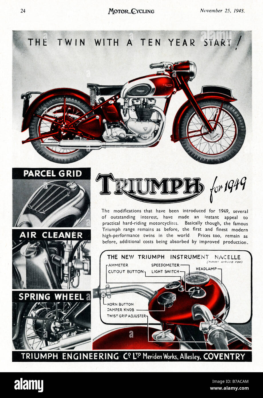 Triumph 1948 advert for the 1949 model of the British twin motorbike made in Coventry - Stock Image