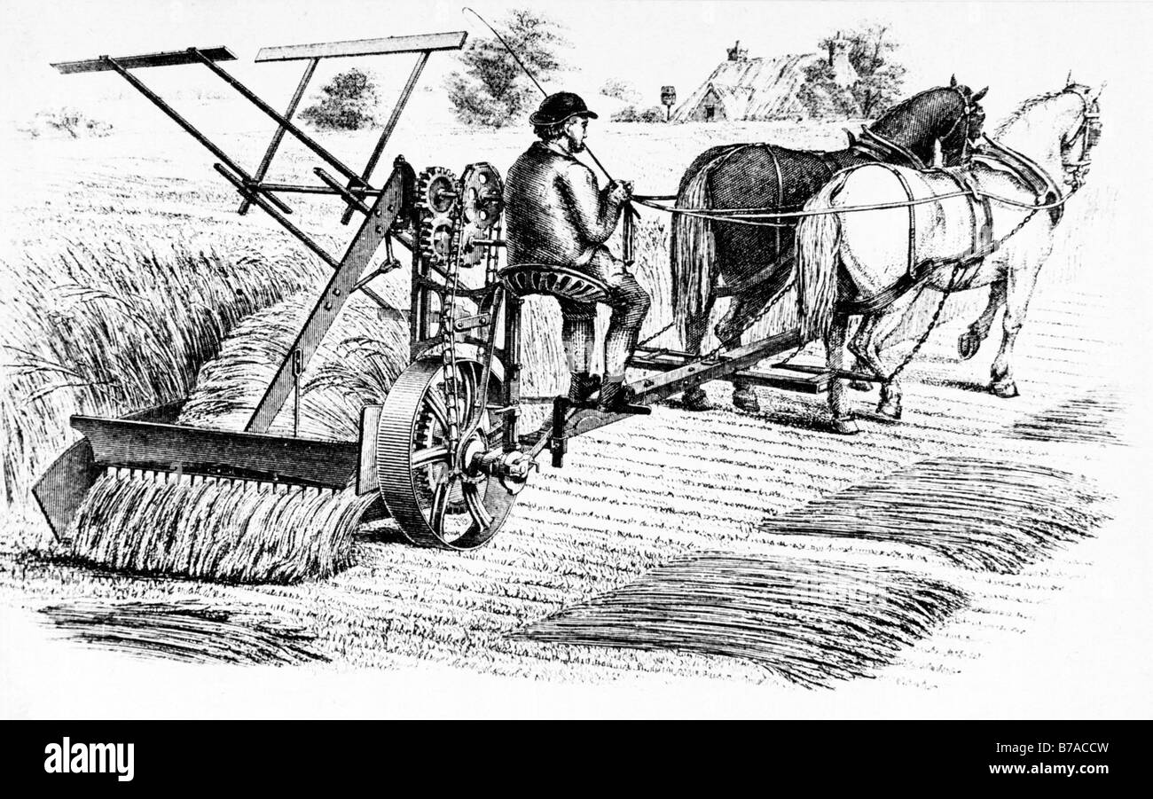 Cyrus McCormick Reaper 1840 illustration of the very first mechanical  harvesting machine which revolutionised agriculture