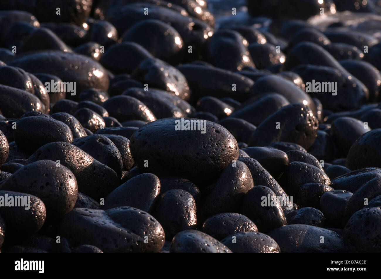 Coast, lava rocks on a beach near Puerto Naos, time exposure, La Palma, Canary Islands, Spain, Europe Stock Photo