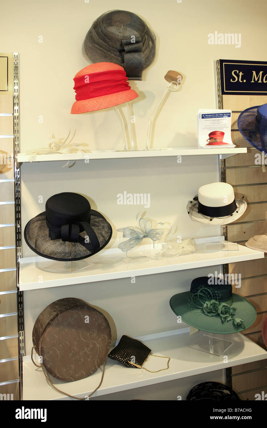 5197eb6c Hats on display at a formal ladies fashion ware store - Stock Image