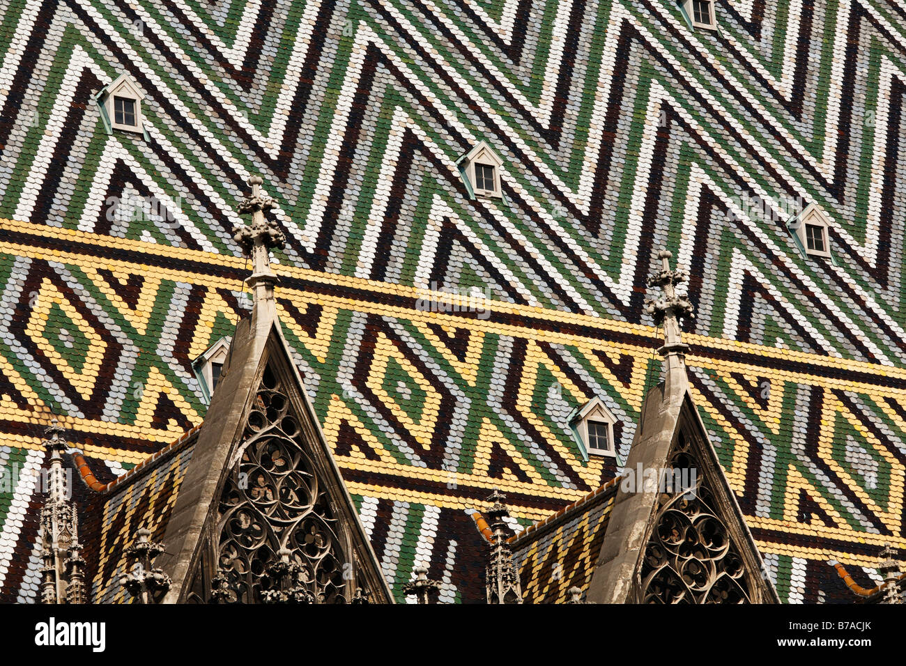 Mosaic, panoply roof of Stephansdom, Stefansdom, St. Stephen's Cathedral, Vienna, Austria, Europe - Stock Image