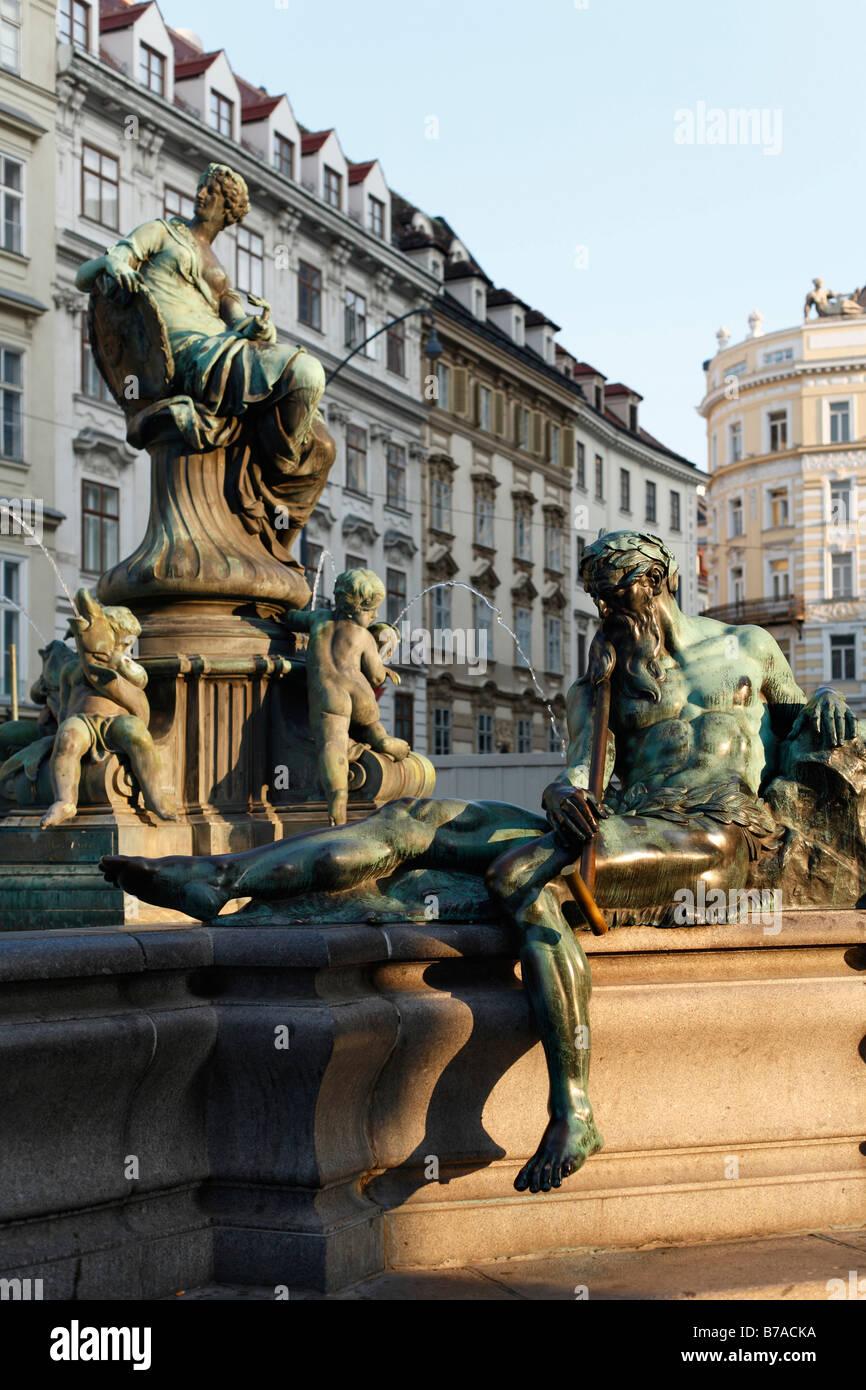 Donnerbrunnen fountain, Providentiabrunnen fountain, Neuer Markt, Vienna, Austria, Europe - Stock Image