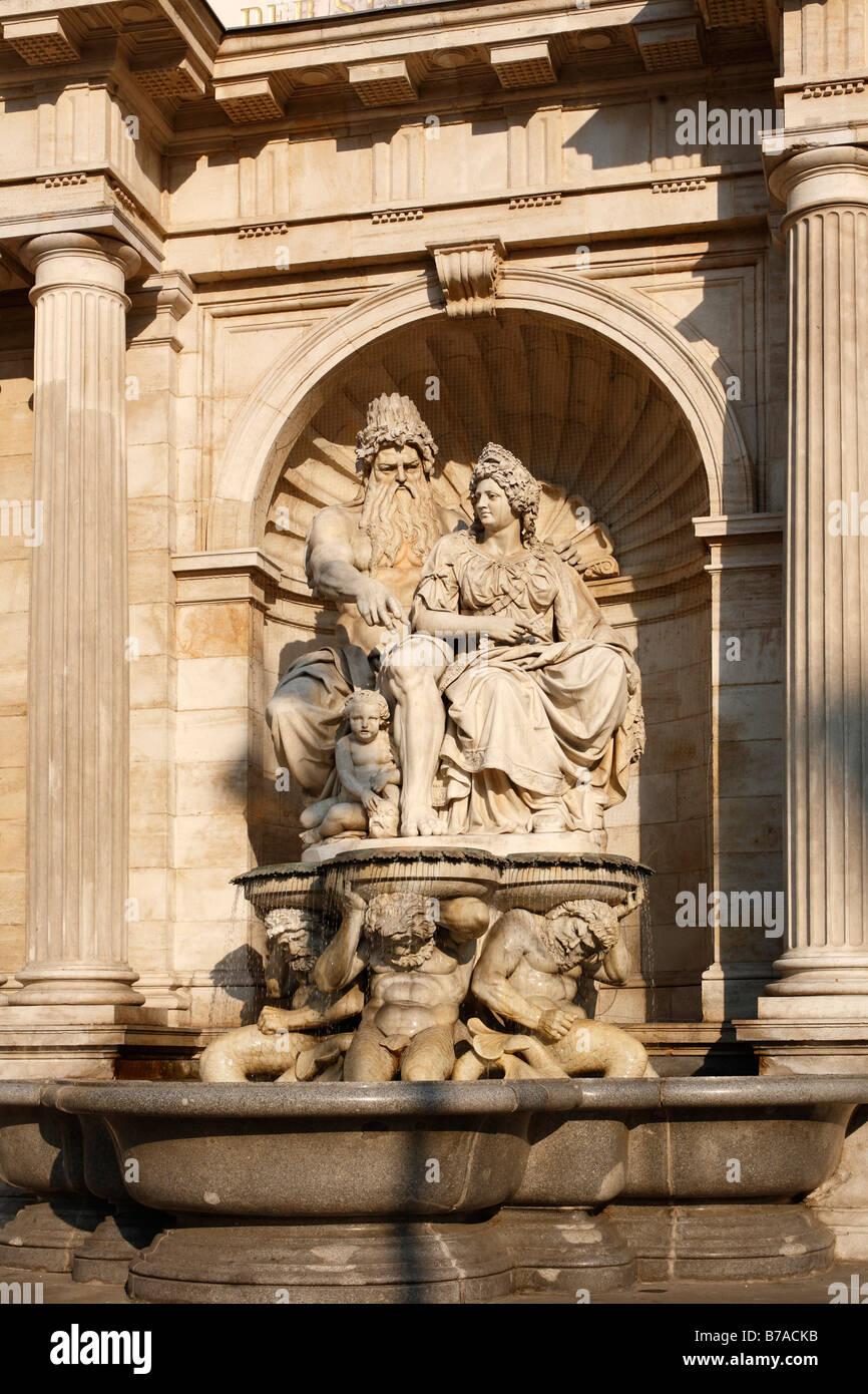 Danubius fountain, Danubiusbrunnen at the Albertina Museum, Albertinaplatz, Vienna, Austria - Stock Image