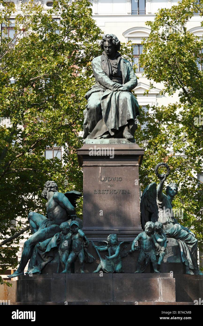 Memorial to Ludwig van Beethoven on Beethovenplatz, Vienna, Austria, Europe - Stock Image