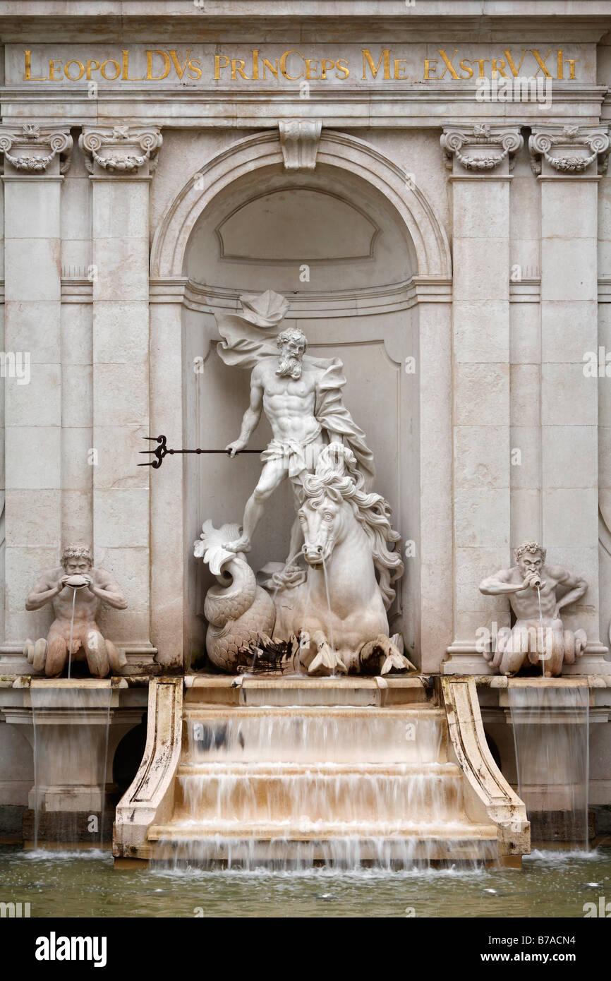 Neptune Fountain on Kapitelplatz Square, Salzburg, Austria, Europe - Stock Image