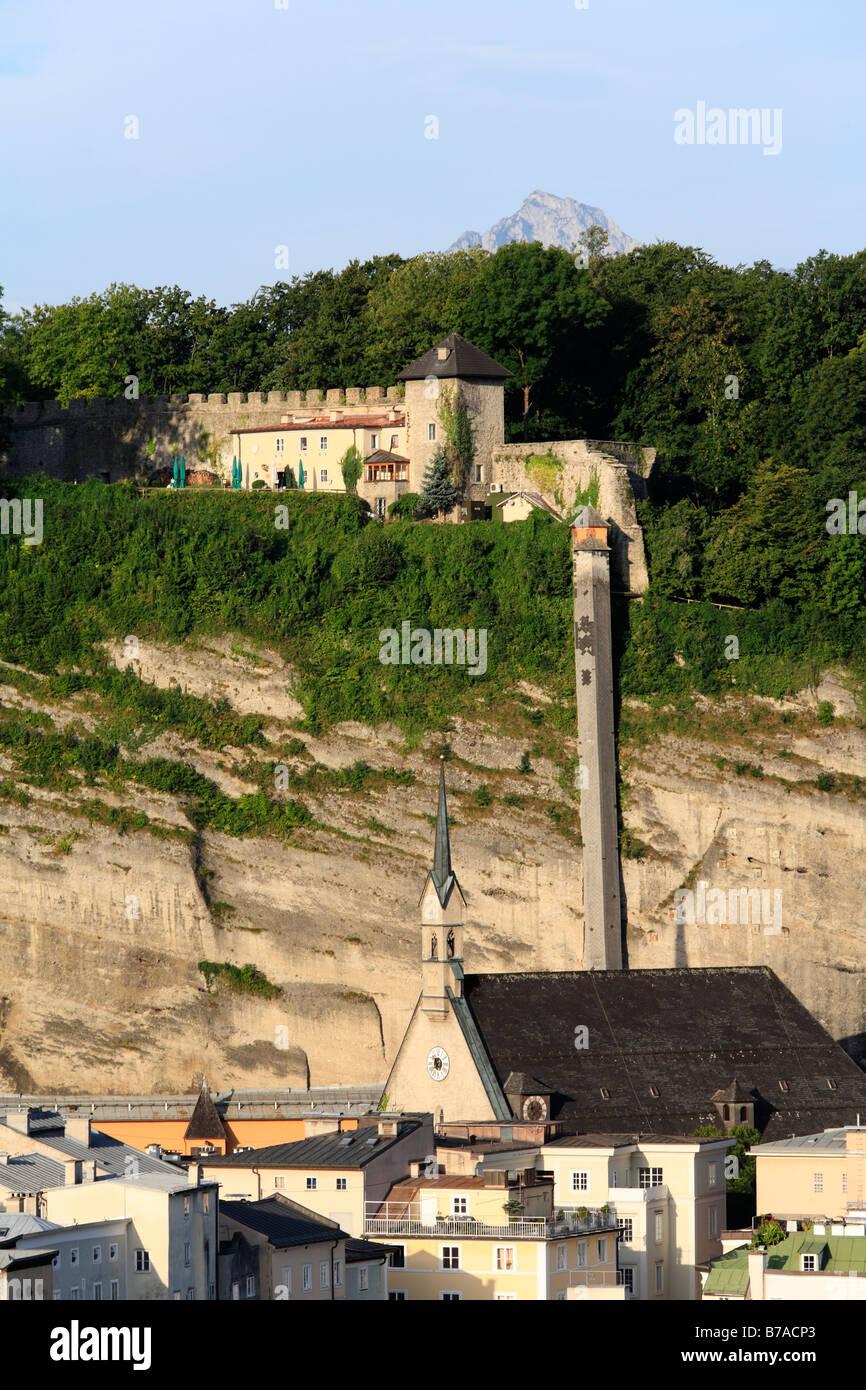 Militia on Moenchsberg Hill and Church St. Blasius, Salzburg, Austria, Europe - Stock Image