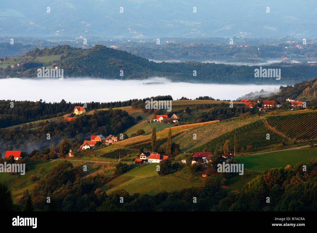 Kitzeck im Sausal, fog bank, Styria, Austria, Europe Stock Photo