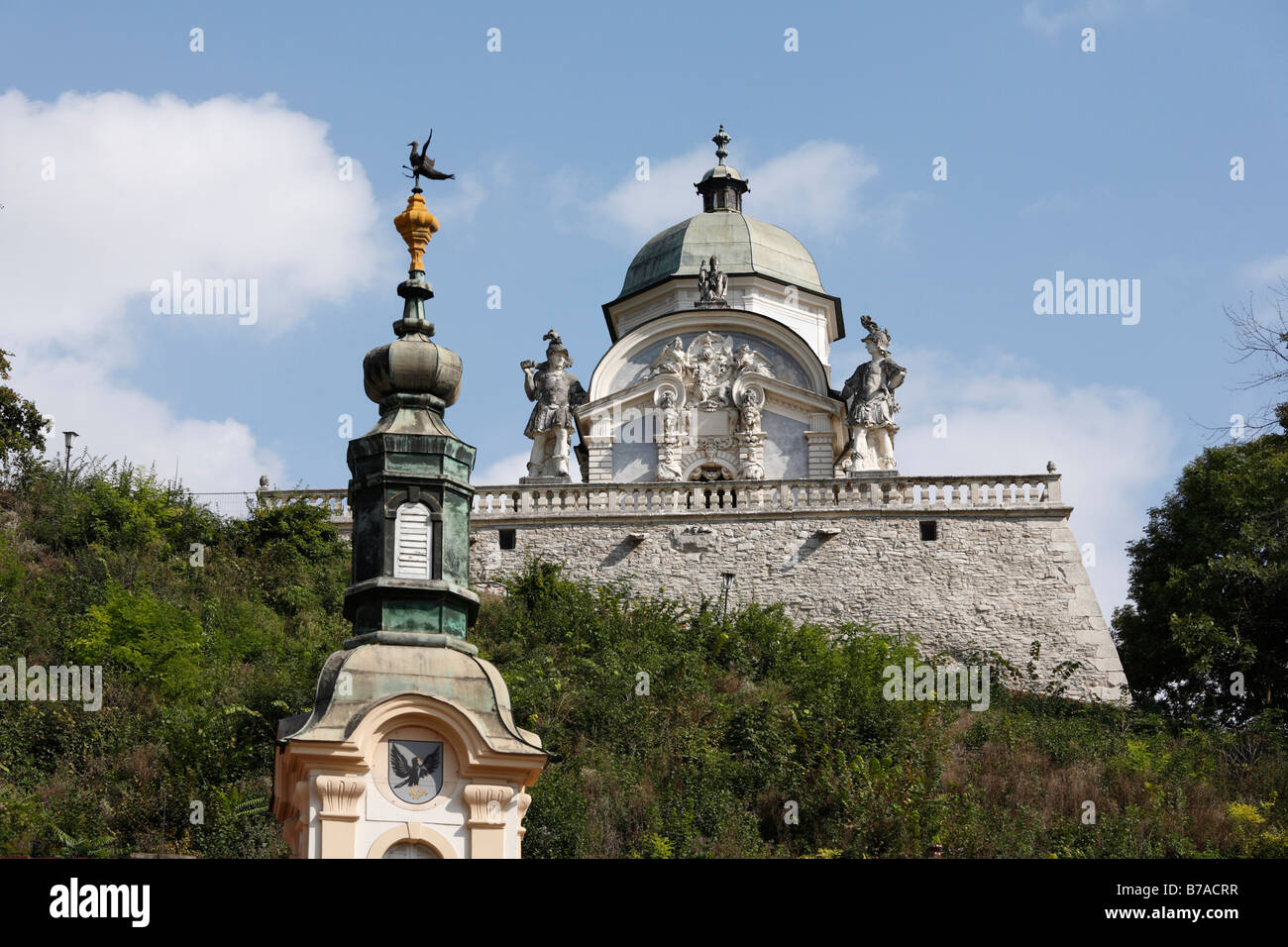 The Eggenberger family mausoleum and the spire of the parish church, Ehrenhausen, Styria, Austria, Europe - Stock Image