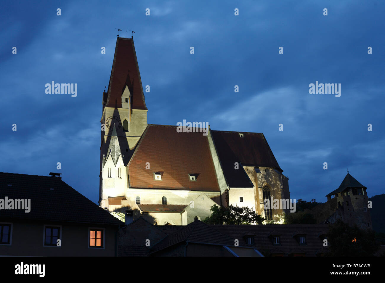 Wehrkirche, Defensive Church, in Weissenkirchen in der Wachau, Waldviertel, Forest Quarter, Lower Austria, Austria, - Stock Image