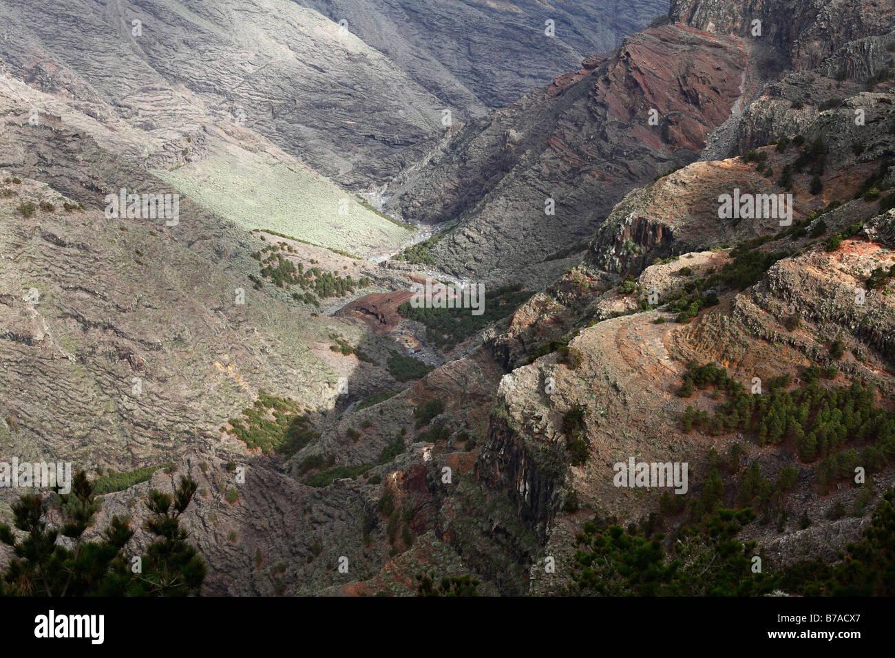 Barranco de Majona, canyon, La Gomera, Canary Islands, Spain, Europe - Stock Image