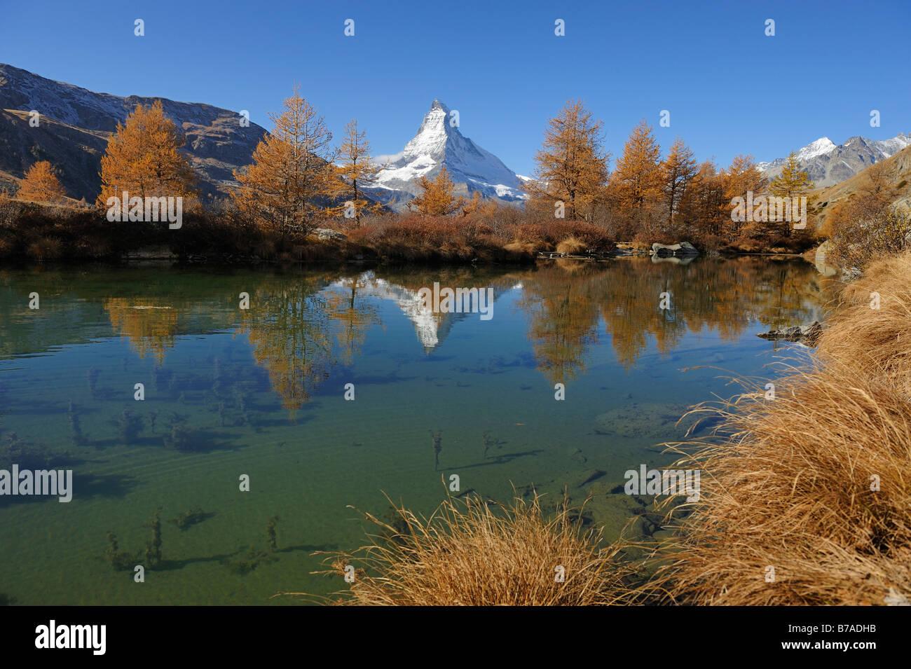 Grindjisee with view to the Matterhorn, Zermatt, Wallis, Switzerland, Europe - Stock Image