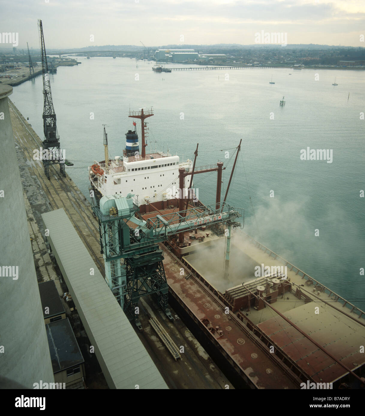 Looking down on a 26000 ton Lebanese grain ship loading its cargo at Southampton Docks - Stock Image