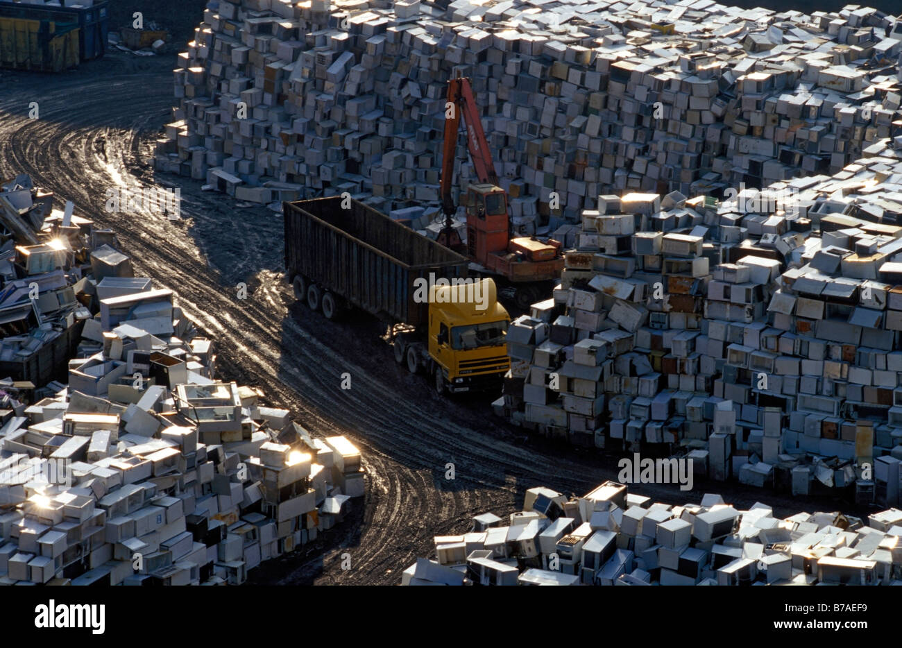 70000 unwanted fridges refrigerators await a countryside crusher. Southerham Pit near Lewes East Sussex England - Stock Image